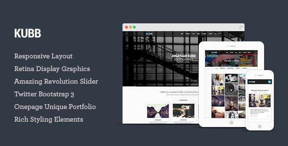 Kubb – Photography & Magazine HTML5 Template Kubb is most completed responsive photography and magazine HTML5 Template with various portfolio options which is suitable for artists, p...