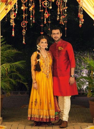 Dia Mirza with her to-be husband Sahil Sangha at the mehendi function.