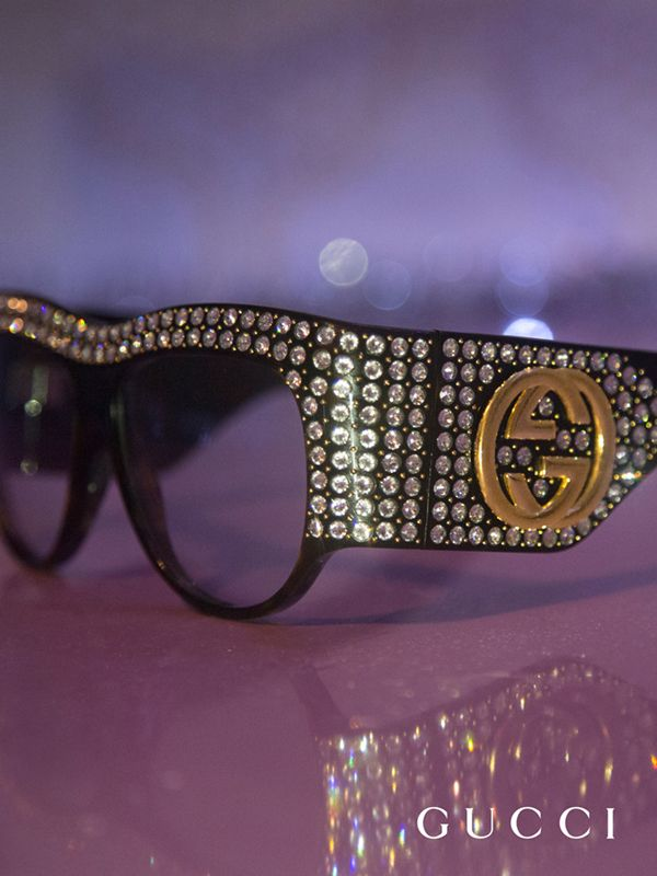Oversize sunglasses with hand-applied crystals and signature interlocking G from the Gucci Spring Summer 2017 eyewear collection, featured in a film by Petra Collins.