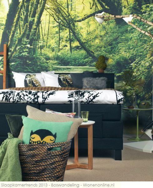 De woontrends van 2013 in vogelvlucht: Slaapkamertrend Boswandeling De helende werking van de natuur is bewezen en ook in huis kun je daar je voordeel mee doen. Haal het buiten naar binnen met natuurlijke materialen en kleuren.