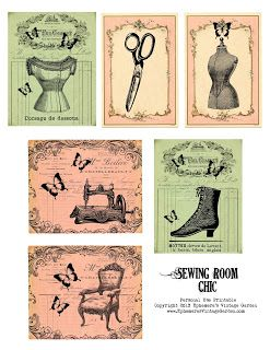 Ephemera's Vintage Garden- Sewing Room Chic Journaling Cards- click on the image- save as!