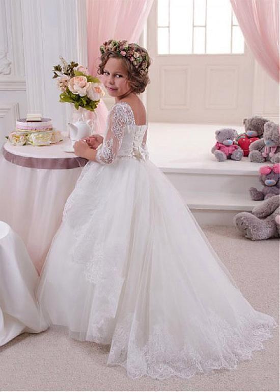 Rabatt Fabulous Tüll & Satin-Schaufel-Ausschnitt-Ballkleid-Blumen-Mädchen-Kleider mit SpitzeAppliques bei Dressilyme.com bekommen