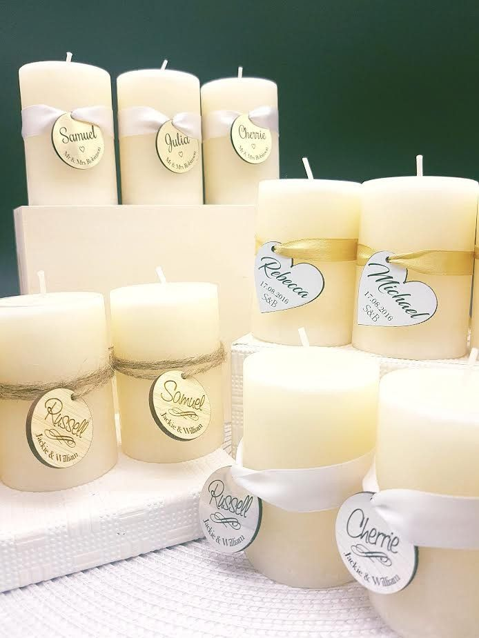 French Vanilla Candles Wedding Favours & Place Cards in One