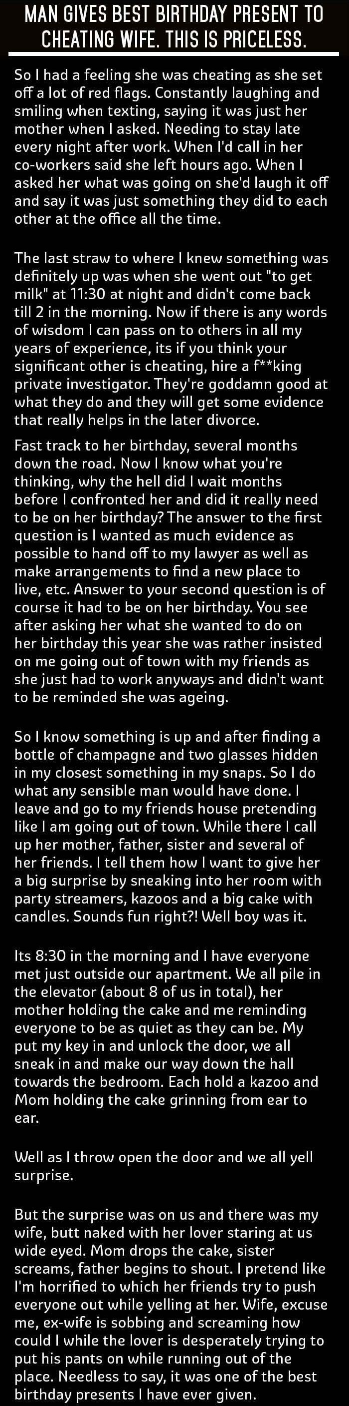 Man Gives Best Birthday Present To Cheating Wife. This Is Priceless.