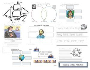 FREE printables:  Lots of Columbus Day writing activities including a KWL, Venn diagram, 2 class books, adjective worksheets etc.