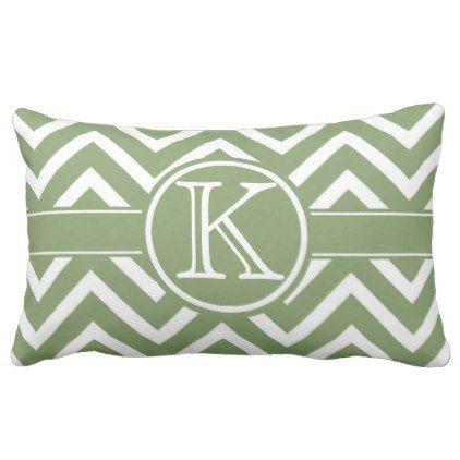 Trendy Green Chevron Monogram Lumbar Lumbar Pillow - monogram gifts unique design style monogrammed diy cyo customize