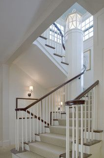 no newel post, simple spindles