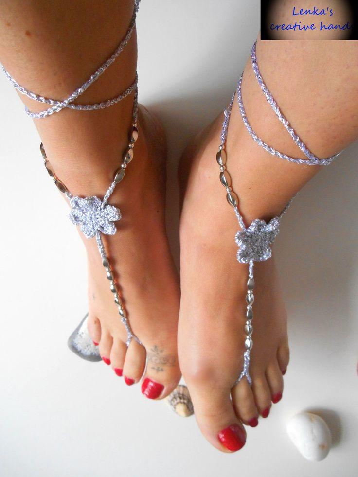 Crochet barefoot sandals, Silver crochet sandals, Foot jewellery, Beach jewellery, Crochet anklet, Gift for her by Lenkascreativehands on Etsy
