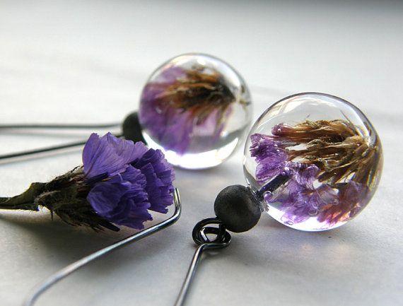 Vintage Earrings with purple flowers by sisicata on Etsy