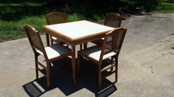 Vintage Leg O Matic Folding Table Amp 4 Folding Chairs