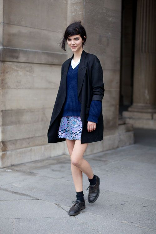 Casual cute: STREET STYLE SPRING 2013: PARIS FASHION WEEK - A graphic skirt changes the entire vibe of this layered look.