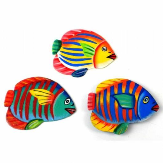 3-inch Painted Tropical Fish Metal Refrigerator Magnet