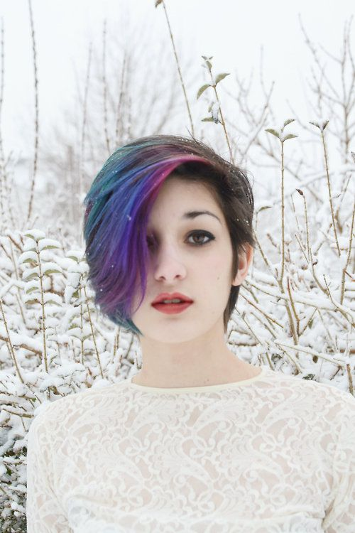 PURPLE HAIR as part of gradient blues and purples but only a wide section, rest of hair is all-over dark color