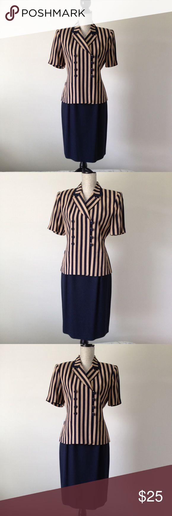 Kasper A.S.L. Petite 2-pc Suit Navy and Khaki striped Kasper Petite Suit.  Navy pencil skirt with matching short sleeve Navy and Khaki striped jacket.  Jacket has shoulder pads and Navy buttons.  Suit is lined. Kasper Skirts Skirt Sets