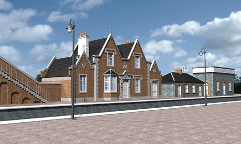 Rendering of the Sallins railway station located in Sallins, Co. Kildare, Ireland
