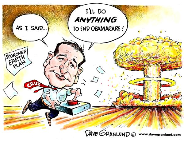 Editorial Cartoon- This cartoon is showing the lengths to which Ted Cruz will go in order to get rid of Obamacare. The visual symbol, the mushroom cloud from a nuclear bomb, is indicative of pure destruction. The cloud is an analogy, and is effective in its message to the audience. The cartoon is suggesting that Cruz will go further than necessary to meet his goals and potentially leave irreparable destruction in his wake.