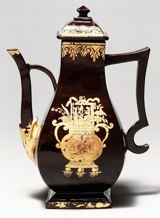 Coffeepot  Date: ca. 1735–40 Culture: German (Bayreuth) Medium: Earthenware, lead-glazed and gilt Dimensions: H. 7-1/4 in. (18.4 cm)