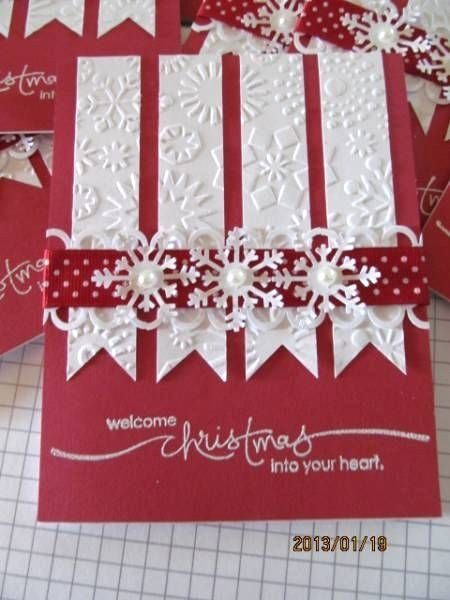 elegant pearl and snowflakes DIY Christmas Card