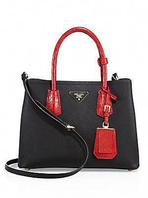 e589eaeb034e Prada Small Double Saffiano Leather   Crocodile Tote  Pradahandbags ...