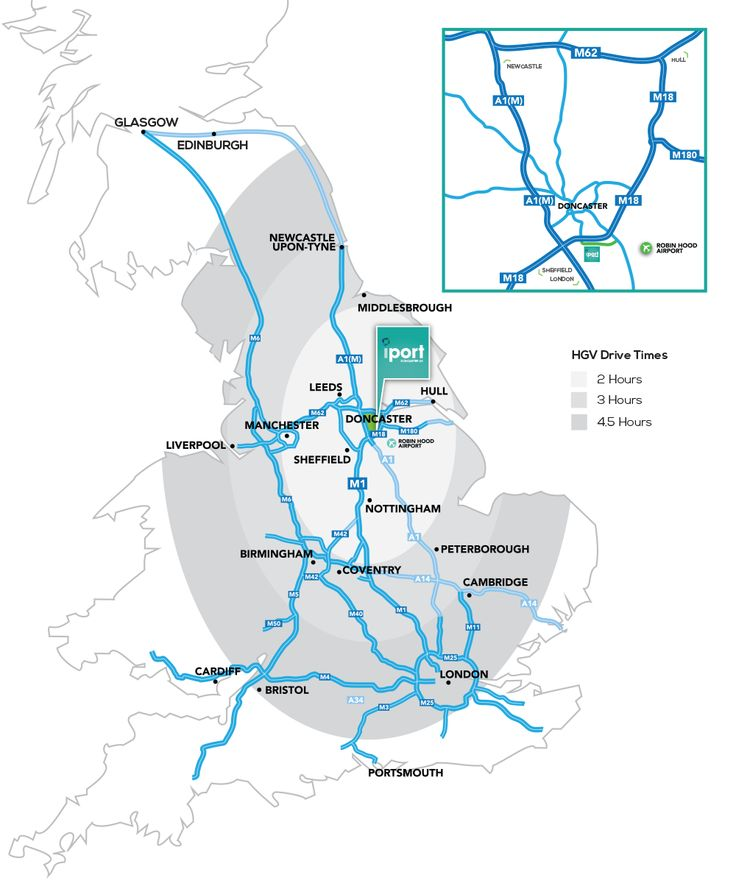 Junction 3 of the M18 motorway is within ½ mile of the iPort whilst the M18 / A1M intersection is within 1 mile. The A1M / M62 intersection is 18 miles to the north whilst the east coast ports of Immingham and Grimsby are 50 miles to the east. The M18 also provides a direct link to the M1 motorway some 11 miles to the west of the iPort.
