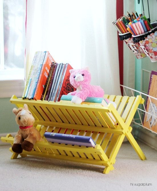 painted dish rack as book holder