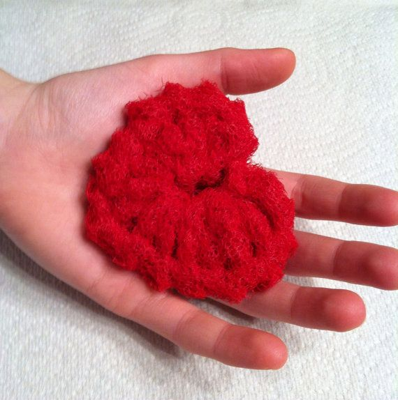 "Dish Scrubbies, 3 ""Love"" Crochet Heart Nylon Netting ..."