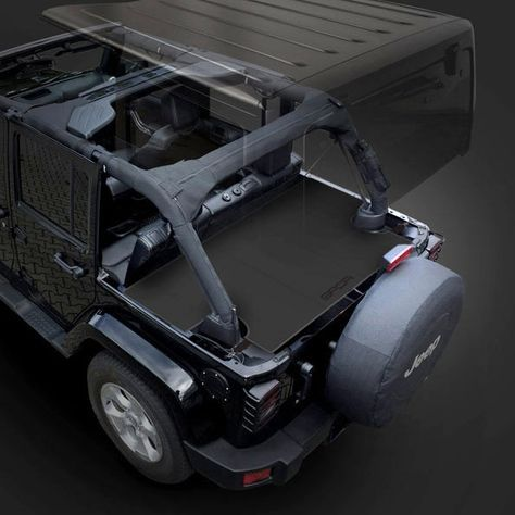 GPCA Jeep Wrangler Unlimited Trunk Cargo Cover with multiple configurations. Top Jeep Wrangler soft/ hardtop accessory to protect your valuable in trunk cargo. | Jeep Wrangler 4DR