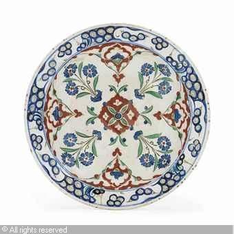 IZNIK CERAMIC, 16 > (Turkey)  Title : DISH  Date : ca 1575  DISH sold by Christie's, London, on Thursday, October 04, 2012