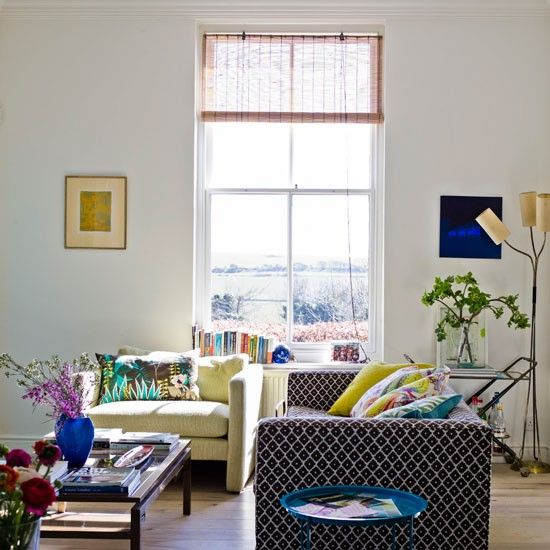 Textural modern living room - love the view out of the window!