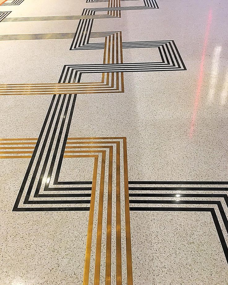 Terrazzo Embedded With Brass And Black Strips #terrazzo