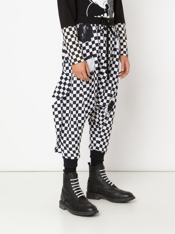 charming clown pants. RENE GURSKOV - Drawstring Checkered Cotton Pant - H2721 BLK/WHT CHECK - H. Lorenzo