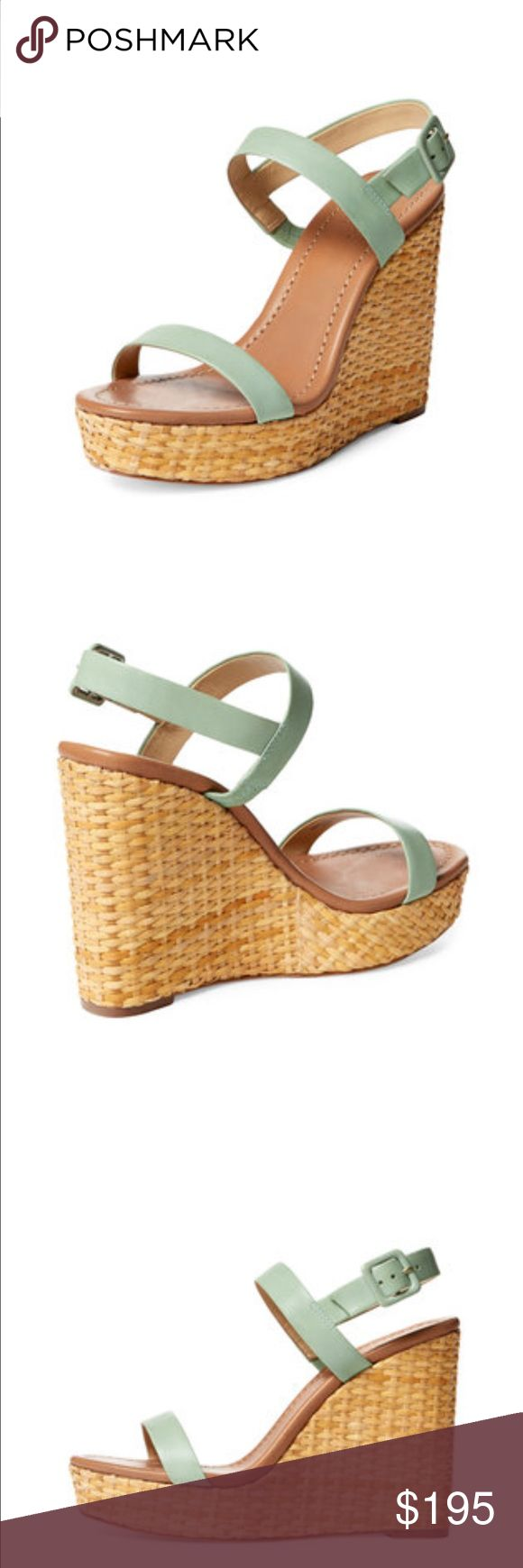 "NIB: Kate Spade Dance Woven Wedge This high wedge sandal has a leather upper with an adjustable ankle strap. It has a leather insole and sole with a woven wedge.  The height is 5"" with a platform sole of 1 1/2"". kate spade Shoes Sandals"