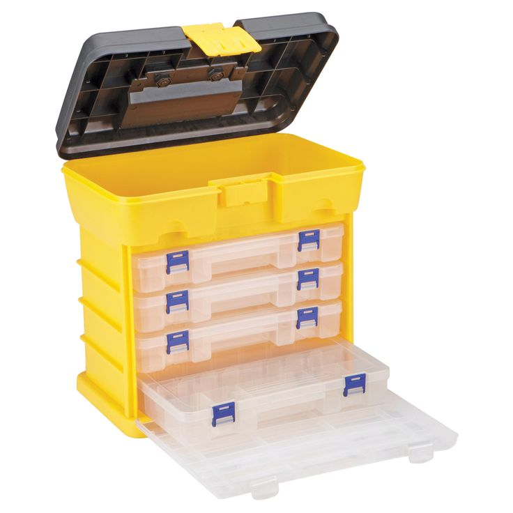 This toolbox organizer contains 4 drawers with 18 adjustable compartments in each. Each of the drawers is fully removable and features a lid and latches to keep items safely in place.