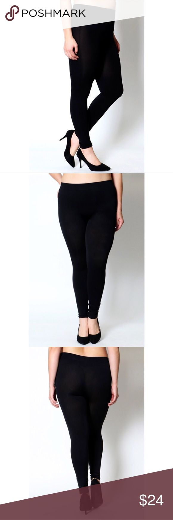 """Zenana Outfitters Black Seamless Leggings Plus 1X Zenana Outfitters Black Seamless Leggings Plus 1X.  Tag says OS but they fit 1X/2X. Waist 27"""" Inseam 24.5"""" Zenana Outfitters Pants Leggings"""