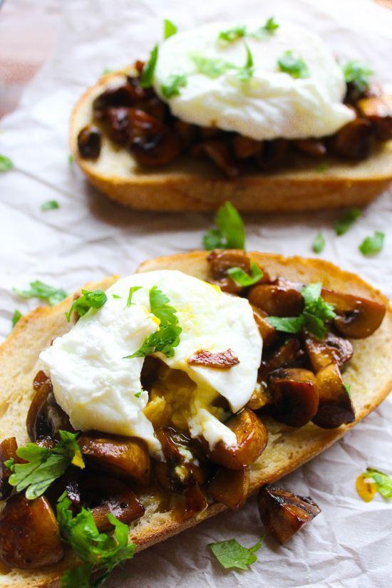 Soy Glazed Mushroom Toast with Poached Egg   potluck at ohmyveggies.com