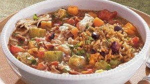 Autumn Gumbo – Ingredients: 1/3 cup vegetable oil 1/3 cup Gold Medal™ all-purpose flour 1 package (10 oz) frozen diced celery, onion, and red and green bell peppers, thawed, squeezed to drain