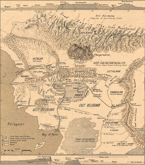 map of beleriand high res compiled from the four pages that make up the large map of beleriand in karen wynn fonstads the atlas of middle earth