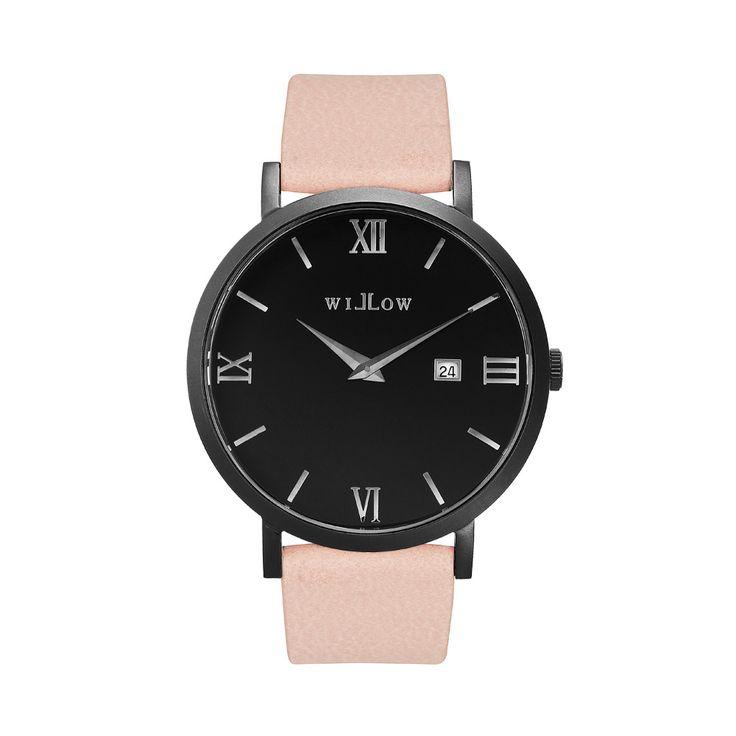 Verona Matte Black Watch & Interchangeable Rose Pink Vegan Strap.