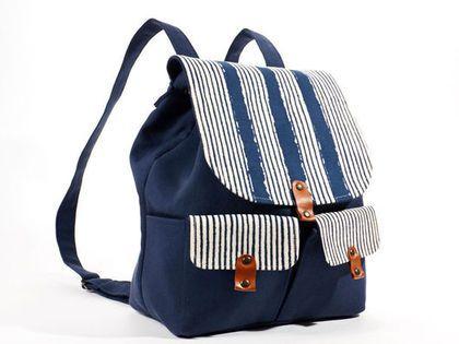 Рюкзаки ручной работы. Ярмарка Мастеров - ручная работа Рюкзак синий в полоску. Handmade.