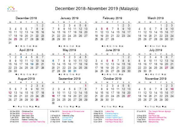 Printable Calendar 2018 for Malaysia (PDF)
