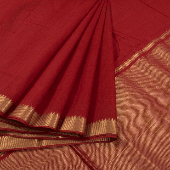 Buy online Handwoven Maroon Mangalgiri Cotton Saree With Zari Border & Zari Pallu 10014946