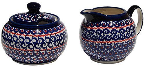 Polish Pottery Sugar Bowl and Creamer From Zaklady Ceramiczne Boleslawiec 6947111126a Classic Pattern Sugar Bowl Height 37 Creamer Height 34 *** Details on product can be viewed by clicking the image