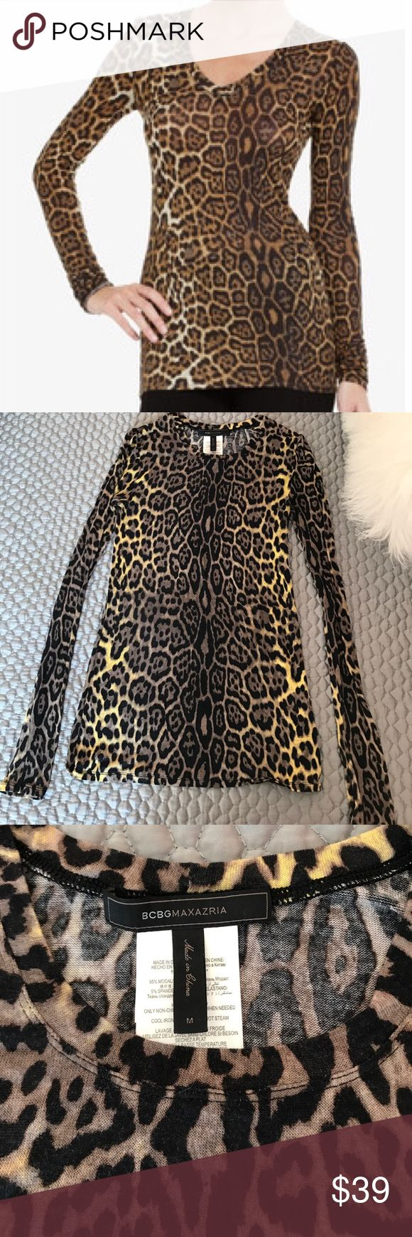 BCBGMAXAXRIA Long Sleeve Leopard Top! The softest and lightest weight statement tee from BCBGMAXAXRIA. Perfect for transitional weather! BCBGMaxAzria Tops Tees - Long Sleeve