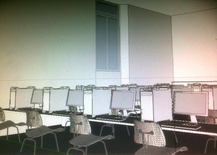modellazione 3D del laboratorio informatico A