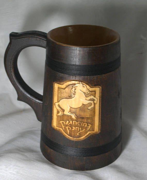 The Prancing Pony wooden Beer Mug  0.6L 203 us fl oz  Lord