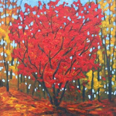 Melissa Jean, Seeing Red,  Acrylic on Canvas 12 X 12 in. #CanadianArt $190.00