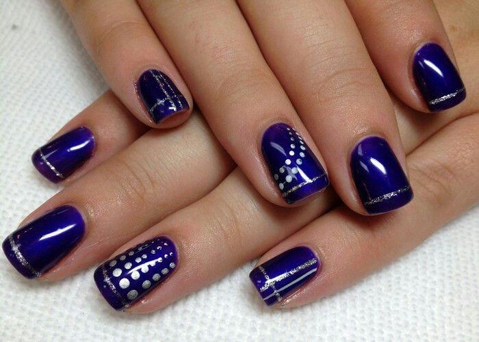 75 best nails images on pinterest fingernail designs nail art purple shellac w silver design prinsesfo Choice Image
