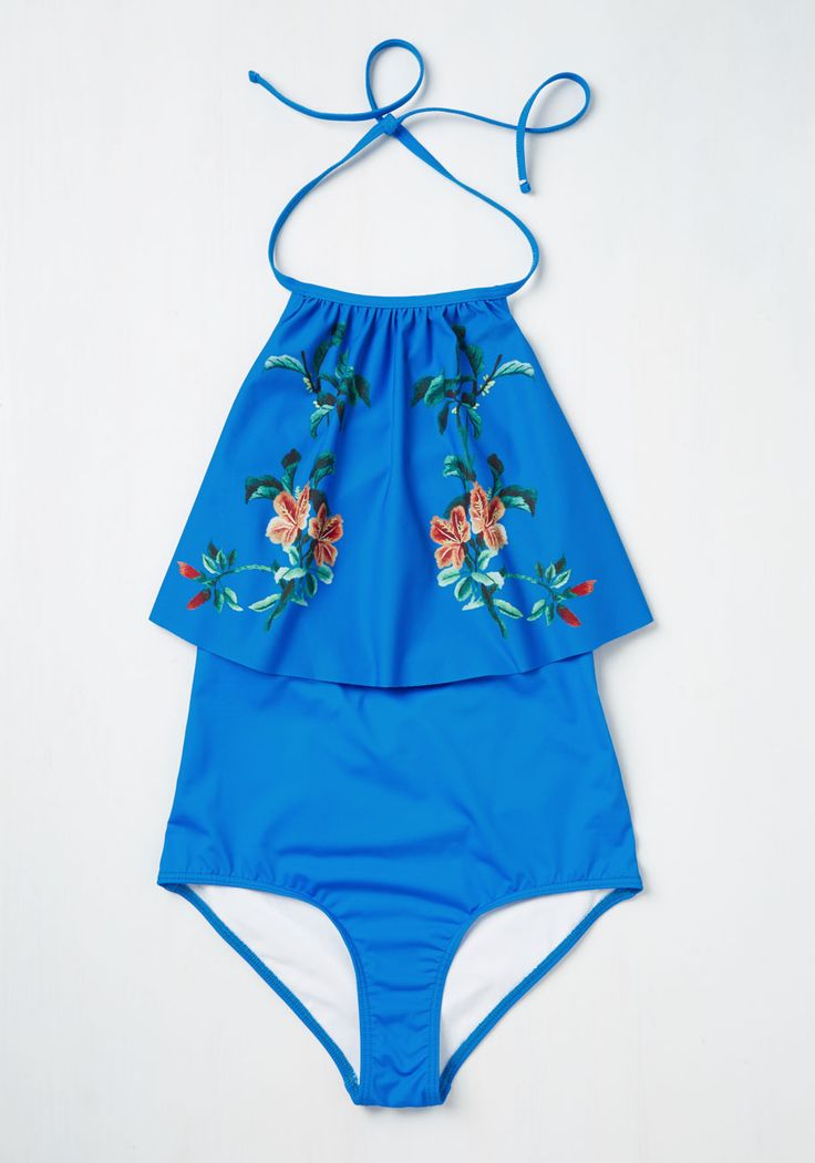 As a band of prism cascades into the sea, you lounge beachside in this cerulean blue swimsuit. With beauty comparable only to the view, this High Dive by ModCloth one piece, which dazzles with a tied halter neckline and a ruffled bodice printed with vibrant orange hibiscus, is truly a piece of paradise.
