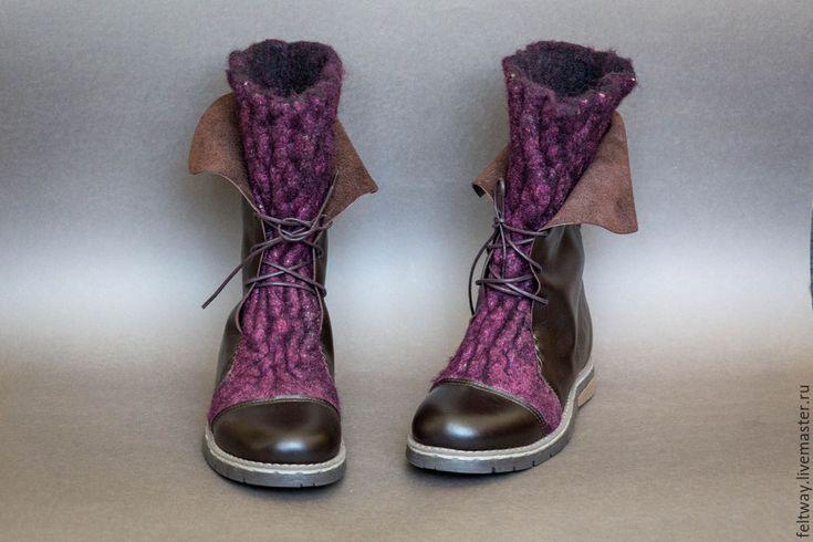 Купить Сапоги женские войлочные с кожей - бордовый, ботинки женские, Ботинки из войлока, ботинки валяные