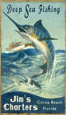 Marlin Fishing Vintage Placa de madeira na AllPosters.com.br
